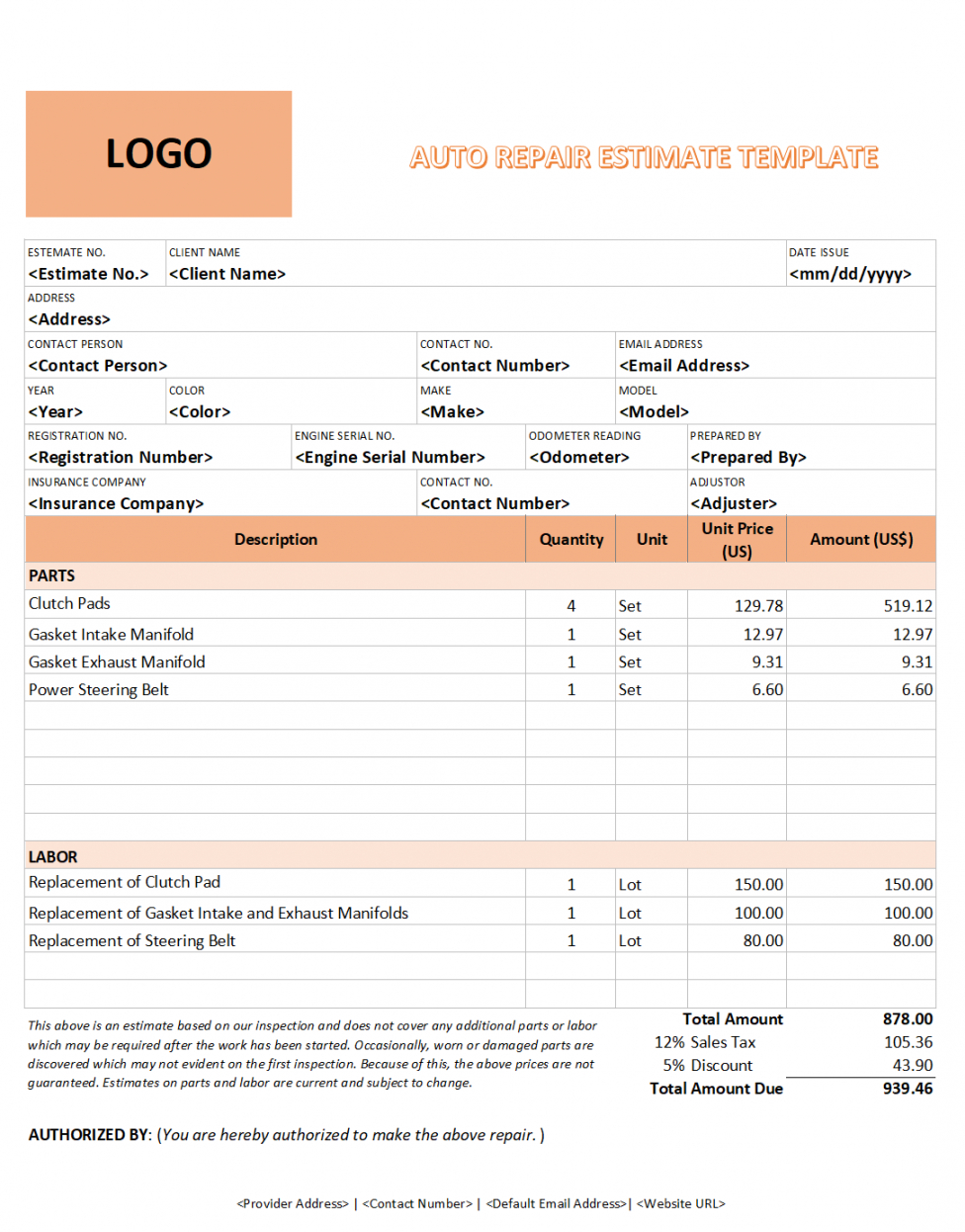 download auto repair estimate template in 2020  estimate vehicle repair estimate template excel