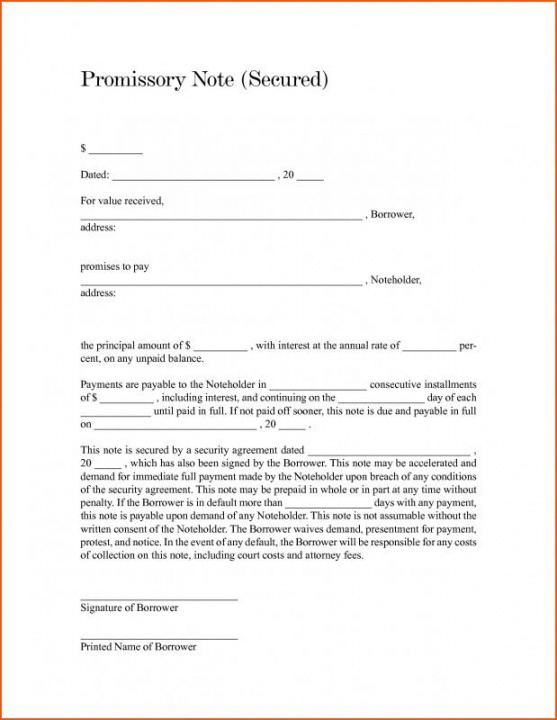 editable free promissory note template for personal loan  template legally binding promissory note template
