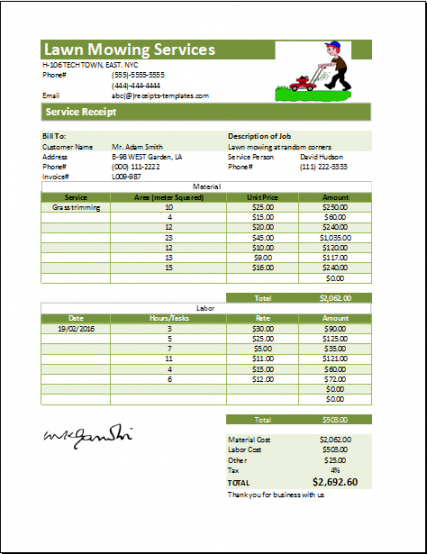 editable ms excel printable lawn mowing receipt template  lawn lawn service estimate template word