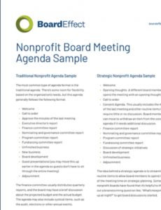 printable non profit board meeting agenda template  pdf template board agenda template non profit pdf