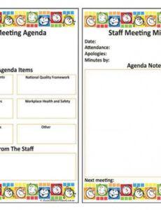 printable staff meeting agenda template childcare  cards design team meeting agenda template excel