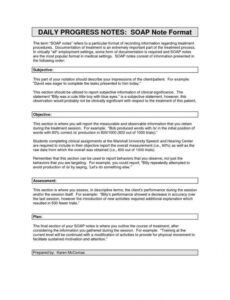 sample daily progress notes soap note format the  soap social work progress note template example