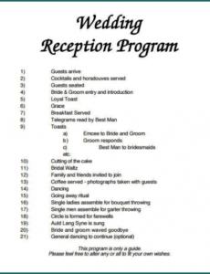 sample 》free printable wedding reception program template  bogiolo wedding reception agenda template excel