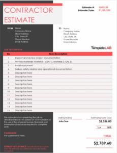 sample estimate sheets for contractors  free resume templates computer repair estimate template example