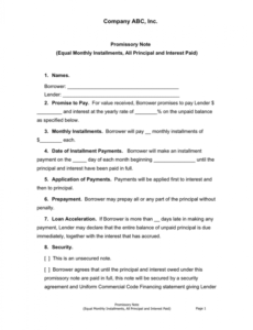 sample promissory note template in word and pdf formats commercial promissory note template word