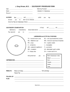 sample worksheet for colposcopy for providers  fill online colposcopy procedure note template word